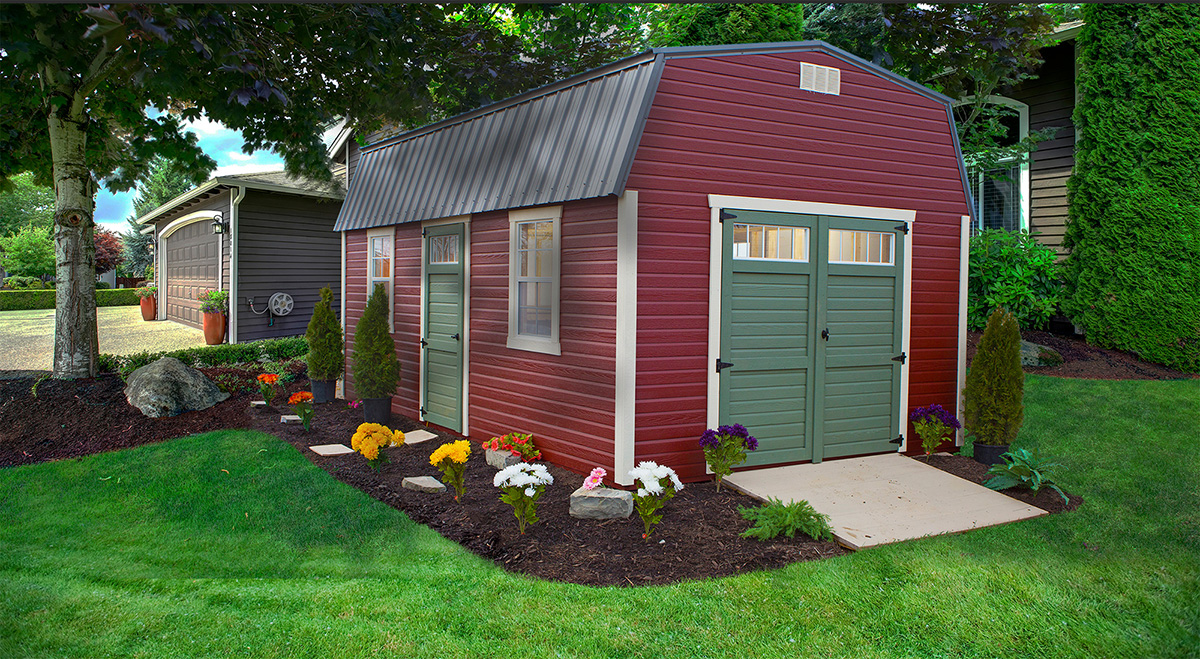 red barn with white trim