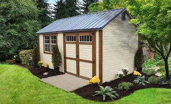 Tan shed with wood accents